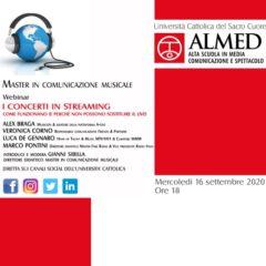 I CONCERTI IN STREAMING – MASTER IN COMUNICAZIONE MUSICALE MERCOLEDÌ 16 SETTEMBRE ALLE ORE 18.00