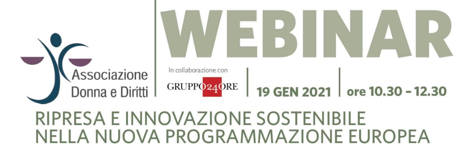"""19/1 – Webinar """"Ripresa e innovazione sostenibile nella nuova programmazione europea"""""""
